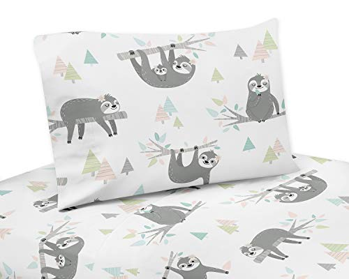 Sweet Jojo Designs Pink and Grey Jungle Sloth Leaf Queen Sheet Set - 4 Piece Set - Blush, Turquoise, Gray and Green Botanical Rainforest