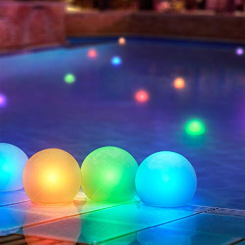Set of 12 Mood Light Glow Balls for Pools, Ponds & More- Battery Operated 3' Round Floating Pool Lights with Color Changing LED