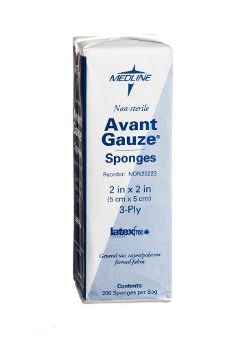 Medline NON25223 Avant Gauze Non-Woven and Sterile Sponge, 2' x 2', 3-Ply (Pack of 5000)