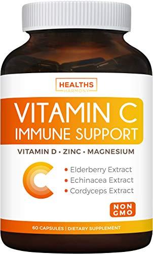 Immune Support - Vitamin C with Zinc, Vitamin D, Elderberry & Echinacea (Non-GMO) Immune System Booster Supplement - VIT C 500mg - 60 Vegetarian Capsules (No Pills, Tablets, or Gummies)