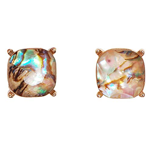 Humble Chic Faceted Square Glitter Stud Earrings for Women - Cushion Cut Statement Post Ear Studs - Gold-Tone 4-Prong Set Big Sparkly Jewels, Simulated Abalone, Simulated Labradorite, Brown, Green