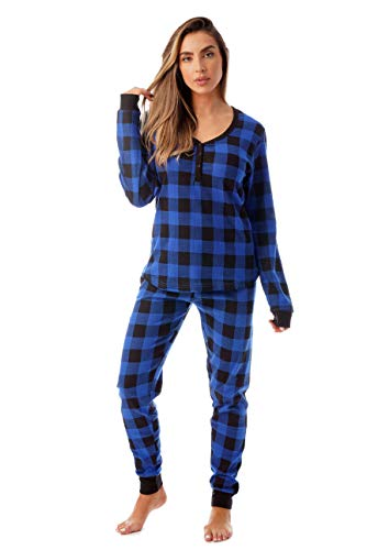 #followme Buffalo Plaid 2 Piece Base Layer Thermal Underwear Set for Women 6372-10195-NEW-ROY-S