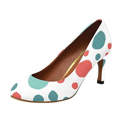 INTERESTPRINT Colorful Polka Dot High Heel, Formal, Wedding, Party Simple Classic Dress Pump US10