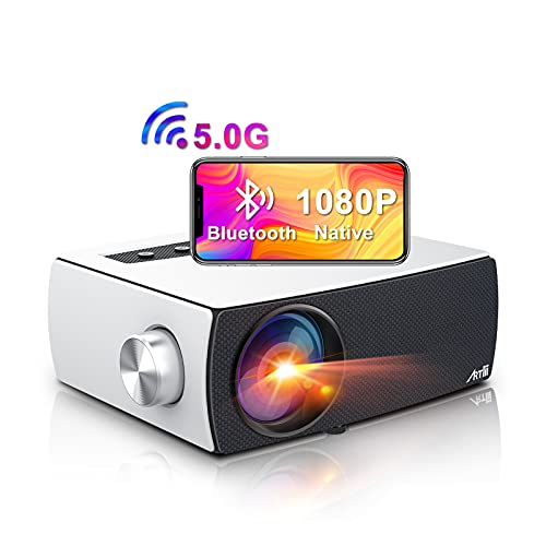 Artlii Enjoy 3 Portable 5G WiFi Bluetooth Projector for iPhone, Full HD Native 1080P Outdoor Projector Supports Zoom & Keystone, Compatible with TV Stick/iOS/Android/PS4/PPT/HDMI/USB