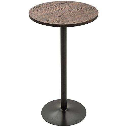 HOMCOM 42' H Rustic Industrial Metal Elm Wood Top Bar Height Standing Pub Table