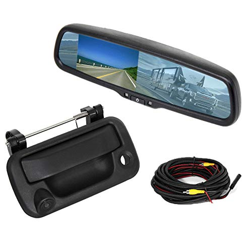 RED WOLF for Ford F150 2004-2014, F250/350/F450/F550 2008-2016 Aftermarket Tailgate Handle W/ Backup Camera + 4.3' Anti-Glare Reverse Rear View Mirror Monitor Display Kit