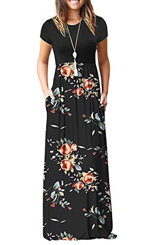 AUSELILY Women's Short Sleeve Floral Printed Dress Loose Plain Maxi Dresses Casual Long Dresses with Pockets(M,Rose Black)