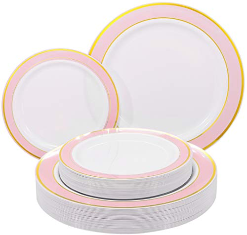 NERVURE 102 PCS Pink with Gold Rim Disposable Plates-Wedding and Party Plastic Plates Include 51PCS 10.25inch Dinner Plates And 51PCS 7.5inch Dessert/Salad Plates - Value Pack 102 Count(Pink)