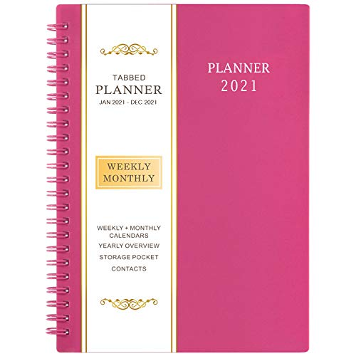 2021 Planner - Weekly & Monthly Planner, 6.25' x 8.3', Jan 2021- Dec 2021, Flexible Cover,12 Monthly Tabs, 21 Notes Pages, Twin-Wire Binding with Two-Sided Inner Pocket