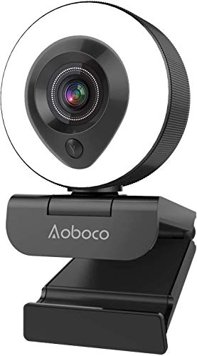 Webcam Streaming 1080P Full HD with Dual Microphone and Ring Light, Aoboco USB Pro Web Camera Stream for Windows Laptop Twitch Xbox One Skype YouTube OBS Xsplit