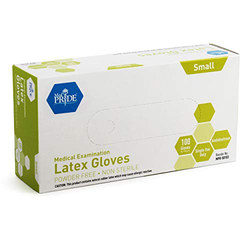 Medpride Medical Exam Latex Gloves| 5 mil Thick, Large Box of 100 Powder-Free