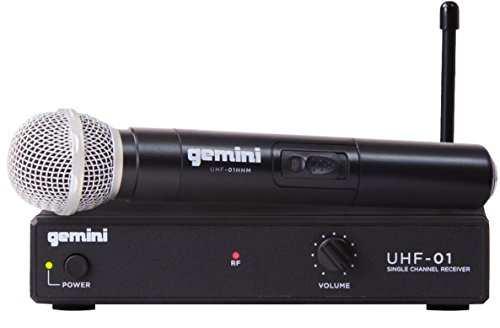 Gemini, 1 Professional Audio DJ Equipment Superior Single Channel Wireless UHF System and Handheld Microphone with 150ft Opereating Range, (UHF-01M F3)