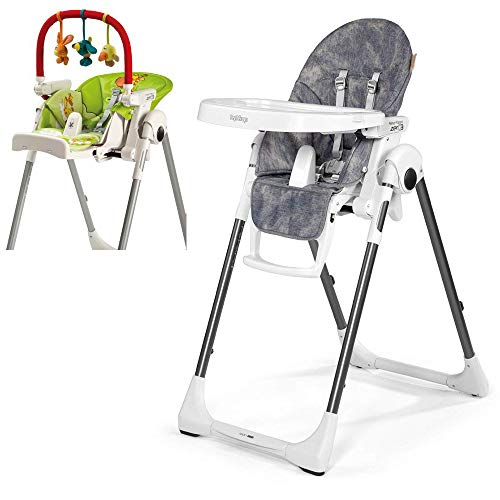 Peg Perego Prima Pappa Zero 3 High Chair, Denim with Play Bar Bundle