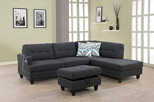 LifeStyle Furniture Sectional Sofa Chaise with Massager and USB Charging, ContemporaryLinen Fabric Upholstered L-Shape Couch with Storage Ottoman & 2 Throw Pillows, Right Hand Facing, Dark Grey