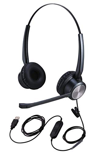 USB Headset for Zoom Meetings w/Mute Button, PC Headset for Microsoft Teams Video Conferencing w/Microphone, Dictation Headset for Nuance Dragon Speech Recognition, Online Teaching Headset for Teacher
