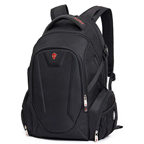 Swiss Alpen - Blanc Backpack - Water Resistant Durable 1680D Large Laptop Backpack for Travel, School & Business - Fits 15.6' Laptop with USB Charging Port - Black Exclusive