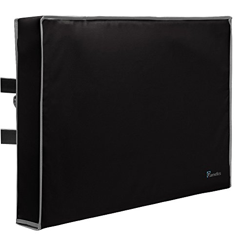 Outdoor TV Cover 52'-55' inch - Universal Weatherproof Protector for Flat Screen TVs - Fits Most TV Mounts and Stands - Black
