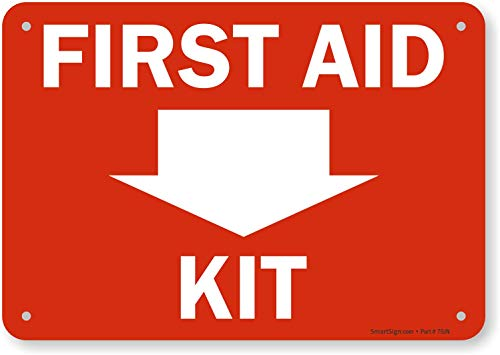 SmartSign 'First Aid Kit' Sign with Down Arrow | 7' x 10' Plastic