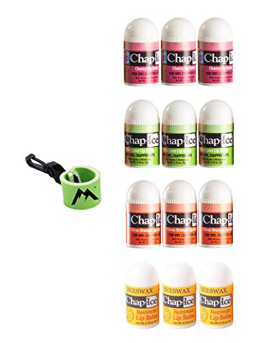 Chap-Ice | Mini Lip Balm Assorted Flavors - 12 Count | Bundle with | 1 Mini Neoprene Sleeve, Lip Balm Holder with Swivel Clip by Mile High Online (13 Total Items)