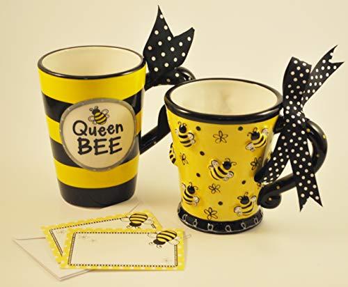 Burton & Burton Raised Design 10 oz Bee Mug and Queen Bee! Bumble Bee Coffee Latte Mug - Two Mug Gift Set