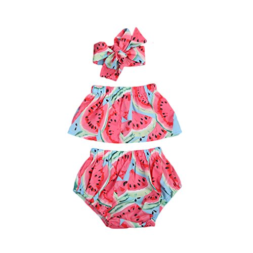 3pcs Baby Girl Watermelon Off Shoulder Lotus Ruffle Romper+Short Pants+Headband Outfit (6-12 Months, Red)
