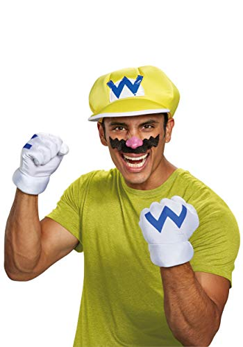 Disguise Super Mario Bros Nintendo Wario Instant Costume Kit Adult, Yellow / Purple, ST