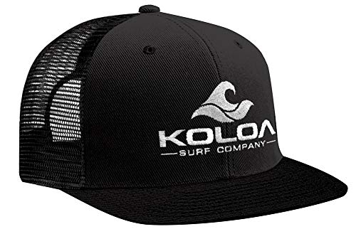 Koloa Surf Mesh Back Wave Logo Trucker Hat in Black with White Logo