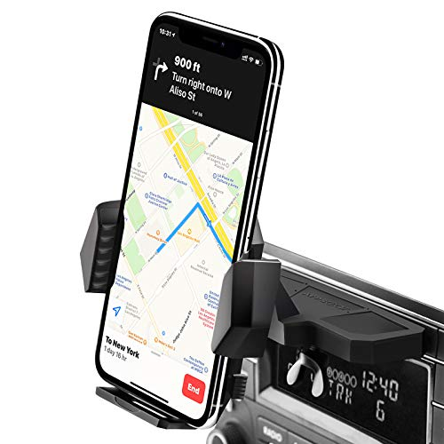 Sturdy CD Slot Phone Mount with One Hand Operation Design, APPS2Car Hands-Free Car Phone Holder Universally Compatible with All iPhone & Android Cell Phones, for Smartphone Mobile
