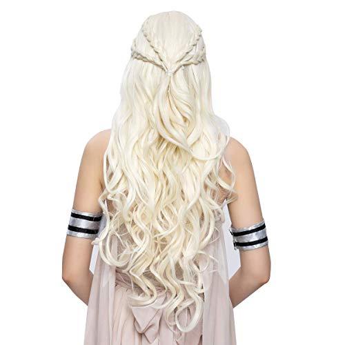 HARICUBE Wigs for Women Halloween Cosplay Wigs for Daenerys Targaryen Costume Party Wigs 26 Inch Long Curly Wigs for Women
