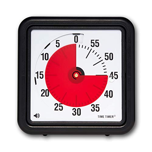 Time Timer Original 12-inch 60-Minute Visual Timer For Kids, Classroom Learning, Elementary Teachers Desk Clock, Homeschool Study Tool and Office Meetings with Silent Operation (Black)
