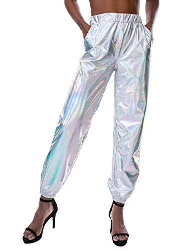 SIAEAMRG Womens Shiny Metallic High Waist Stretchy Jogger Pants, Wet Look Hip Hop Club Wear Holographic Trousers Sweatpant (Silver, L)