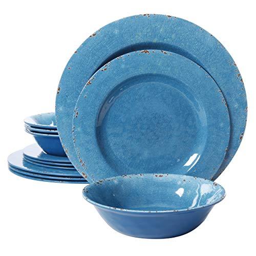 Gibson Studio Mauna 12 Piece Heavy Weight Melamine Dinnerware, Blue