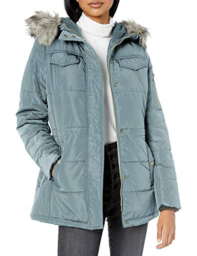 Lucky Brand Women's Short Down Jacket with Faux Fur Hood, Light Blue, XLarge