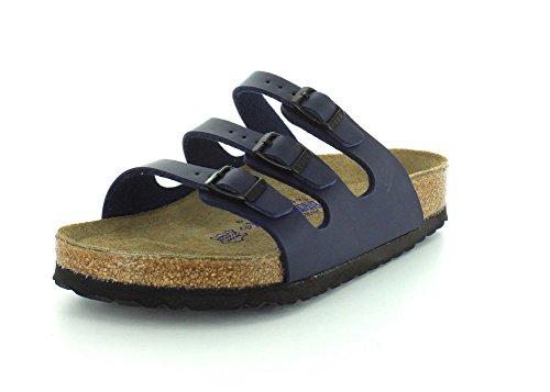 Birkenstock Women's Florida Soft Footbed Birko-Flor  Navy Sandals - 39 M EU