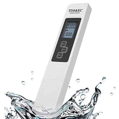 TDS Meter Digital Water Tester, 3-in-1 TDS Meter, Temperature and EC Meter with Carrying Case, 0-9999ppm, Ideal ppm Meter for Drinking Water, Aquariums, hydroponics, Swimming Pools, Spas