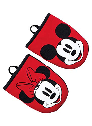 Disney Puppet Oven Mitt & Potholder w/Neoprene for Easy Gripping, Heat Resistant up to 500 Degrees (Grey- Minnie Mouse Face)