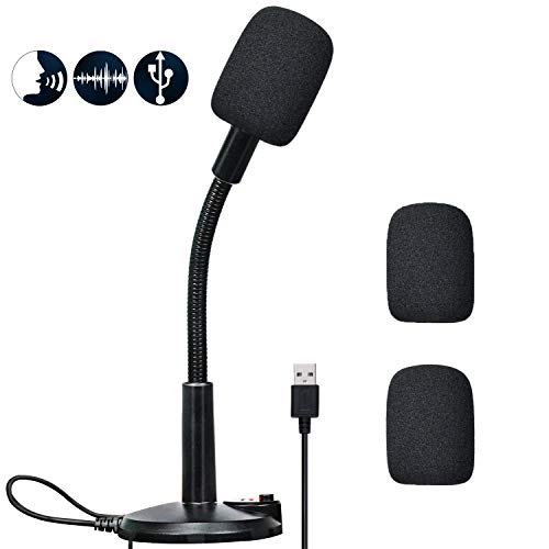 USB Microphone, Fully Angle Adjustable Microphone for Computer, Crystal Clear HD Audio Quality Gaming Mic, Plug&Play Gaming Microphone,pc Microphone Compatible with PC and Mac Operating Systems