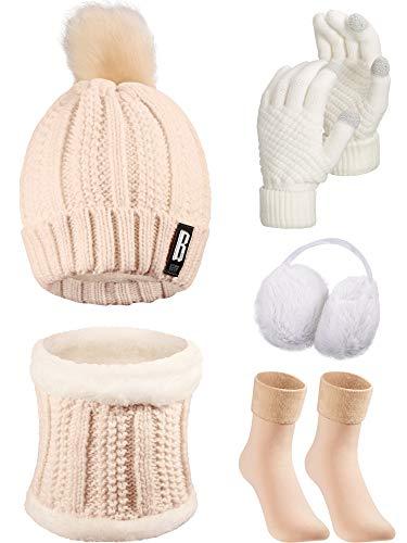 5 Pieces Women Winter Ski Outing Set, Knit Hat Scarf Gloves Earmuffs Stockings (Beige, Khaki)