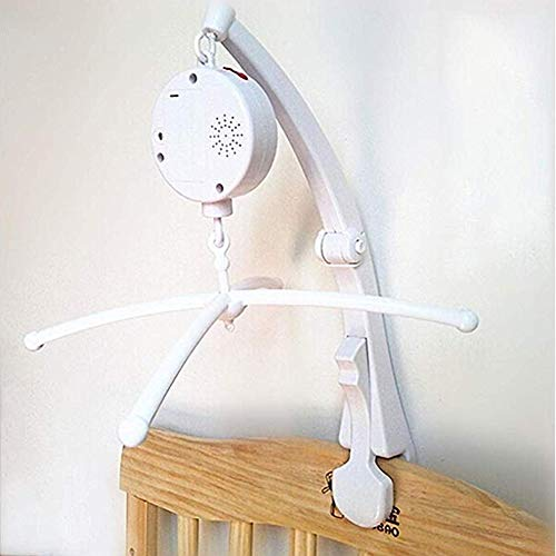 HLEEDUO fenghgoxu Baby Music Mobile arm for Crib Clip Bracket Clip on Mobile Baby Bed Bell Music Box , White (12 Songs Music Box +Cross+Mobile arm)