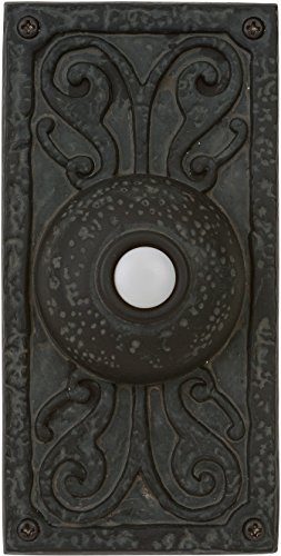 Craftmade PB3037-WB Designer Surface Mount Lighted Doorbell LED Push Button, Weathered Black (5.25'H x 2.63'W)