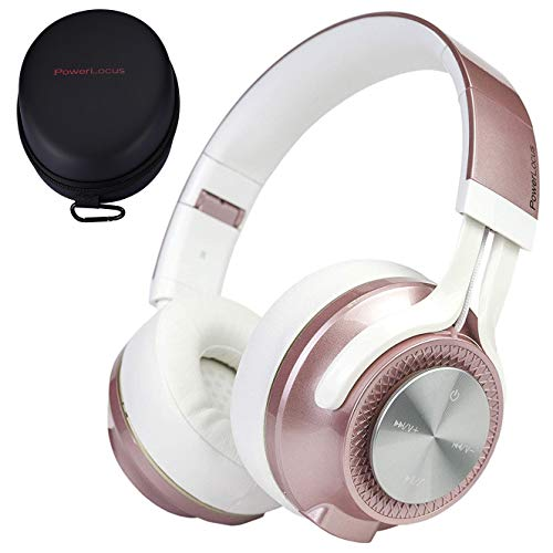 PowerLocus P3 Bluetooth Headphones Over-Ear, [40h Playtime, Bluetooth 5.0] Wireless Hi-Fi Stereo Headphone, Foldable with Mic,Deep Bass, Wired Mode for Cell Phones/Laptop/PC/TV (Rose Gold)
