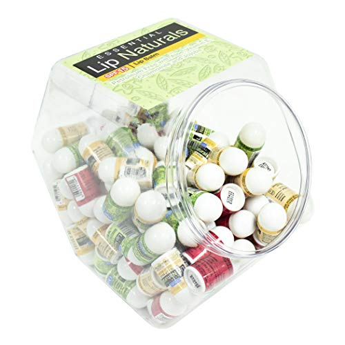 Lip Naturals | Assorted SPF 15 Mini Lip Balm with Fishbowl – Includes Tea Tree Mint, Vanilla Bean and Bing Cherry - 120 count