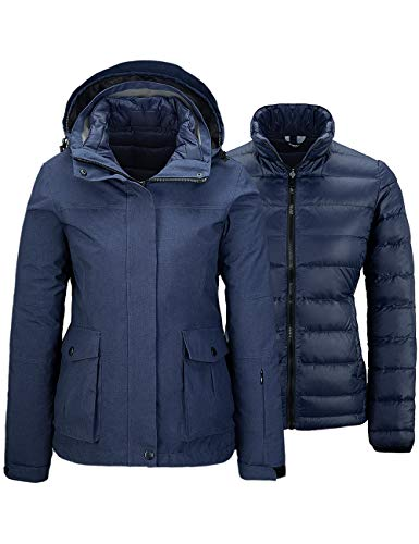 Wantdo Women's Waterproof Interchange Down Jacket Inner Warm Ski coat Navy XL