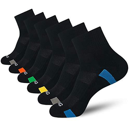 BERING Men's Athletic Cushion Quarter Ankle Socks for Running, Workout, Sport (6 Pack)