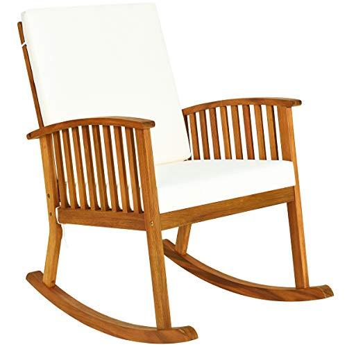 Tangkula Outdoor Acacia Wood Rocking Chair, Wooden Rocker w/Detachable Washable Cushions, Rocker for Porch Garden Patio Balcony Pool Indoor (1, Teak)