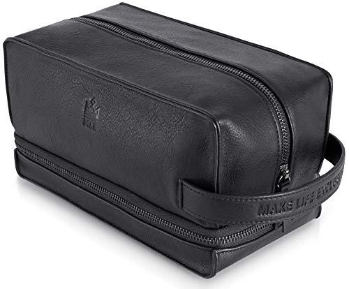 Mens Toiletry Bag & Shaving Bag for Men Travel - Dopp Kit for Men - Mens PU Leather Toiletry Bag for Men - Travel Toiletry Bag & Hygiene Grooming Kit Organizer