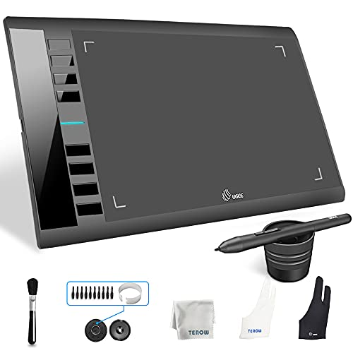 UGEE M708 Graphics Tablet, 10 x 6 inch Large Active Area Drawing Tablet with 8 Hot Keys, 8192 Levels Pen, UGEE M708 Graphic Tablets for Paint, Digital Art Creation Sketch