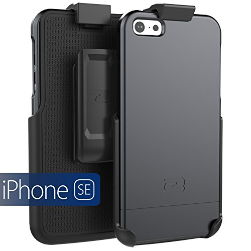 iPhone 5/5s/iPhone SE Belt Clip Case, Encased SlimSHIELD Series (Ultra Slim) Cover w/Swivel Holster - Black (for Apple iPhone 5, 5S, iPhone SE)