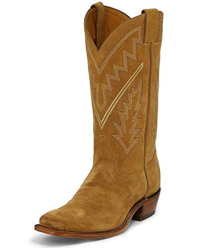 Tony Lama Men's Bingham Suede Western Boot Square Toe Tan 9.5 D