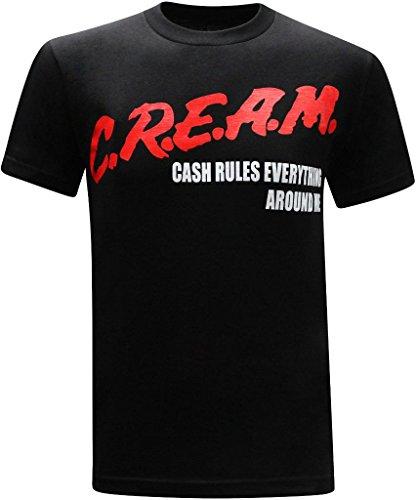 tees geek C.R.E.A.M. Cash Rules Everything Around Me Men's T-Shirt - (X-Large) - Black